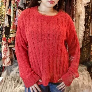 Cherry Red Long Sleeve Knit Sweater
